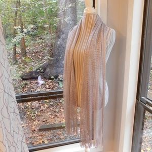 Accessories - Shiny silver shawl, smooth open knit dress scarf